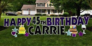 Purple and Black Birthday Yard Card