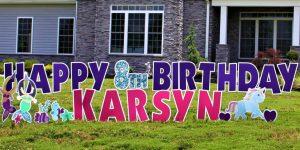 Purple and Pink Birthday Yard Card