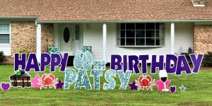Purple and Silver Birthday Yard Card