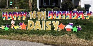 Tie Dye with Gold Birthday Yard Card